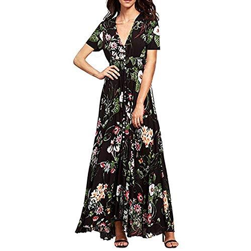 Noir 1 QLJ02 Robe d'été pour Femme bohème élégante Longue Robe de Plage Longue Robe Noire midi Vert Floral Flowy Prairie Maxi Ladies Dress S
