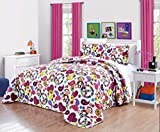 Girls Kids Quilts-FABIAN MONKEY Tween Teen Dream Coverlet. (Double) FULL SIZE Bedspread set -Peace, Hearts-Hot Pink, Turquoise Blue, Purple, Black and White