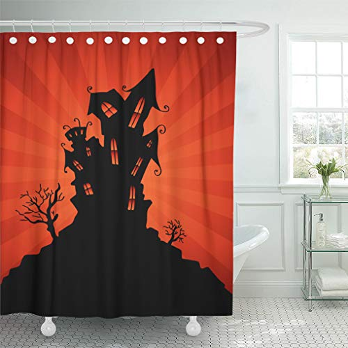 Emvency Shower Curtain Black House Haunted Mansion Orange Halloween Shower Curtains Sets with Hooks 60 x 72 Inches Waterproof Polyester Fabric]()
