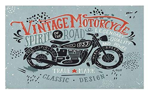 Lunarable Motorcycle Doormat, Biker Theme Hand Drawn Vehicle with Spirit of The Road Words, Decorative Polyester Floor Mat with Non-Skid Backing, 30 W X 18 L Inches, Blue Vermilion]()
