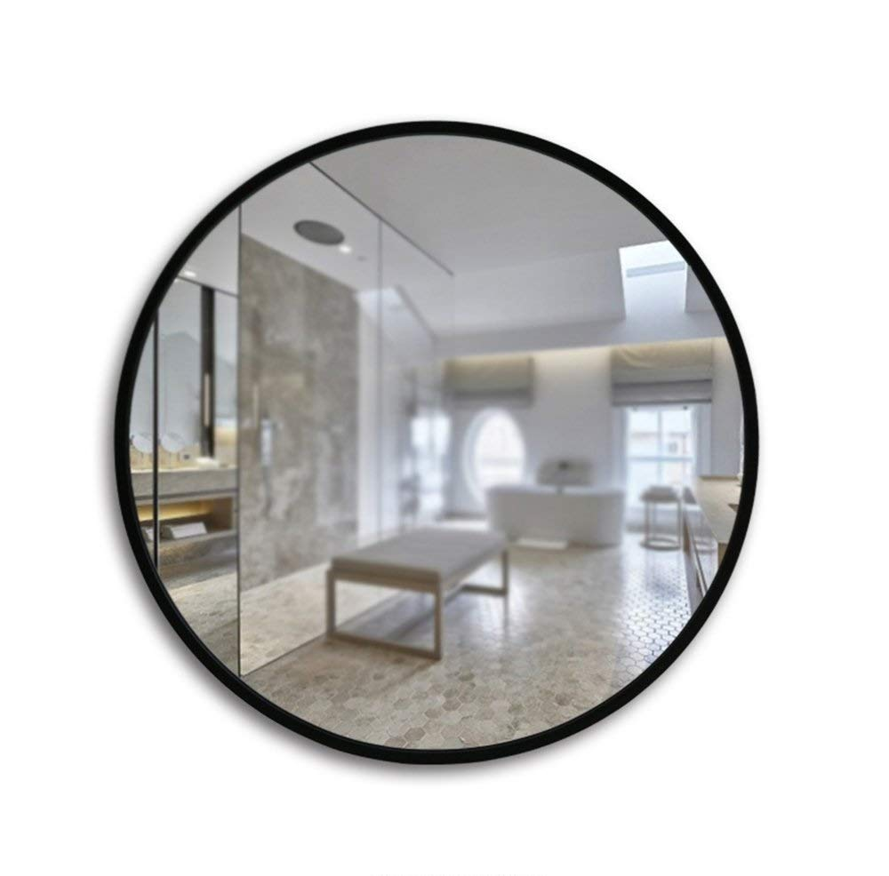 Black 60CM ZHILIAN& Round Mirror Wall-Mounted HD Home Living Room Bedroom Bathroom Multi-Function Vanity Mirror (color   Black, Size   60CM)