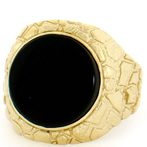 10k Solid Yellow Gold Nugget Round Onyx Mens Ring
