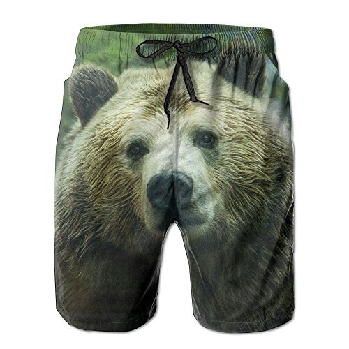 Animal Bear Wildlife Grizzly Zoo Men's Boy's Casual Quick-Drying Beach Pant Swim Board -