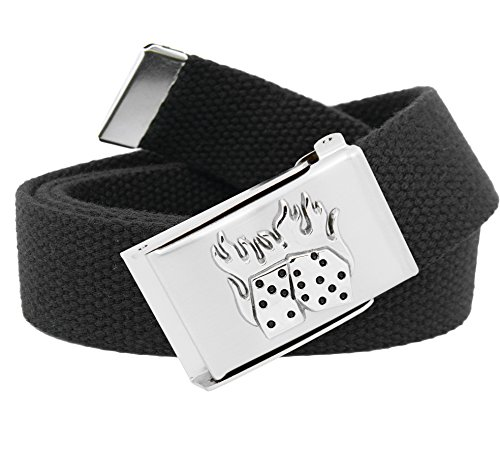 Men's Silver Flip Top Flaming Dice Military Buckle with Canvas Web Belt Large Black