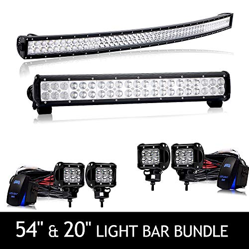 "4XBEAM 54"" Curved Led Light Bar + 20"" LED Light Bar Roof Top Windshield Front Bumper w/4PCs 4"" Work Lights Bundle For Truck Dodge Ram Polaris Jeep Cherokee Toyota Tacoma Can Am SXS Marine Yamaha YXZ"