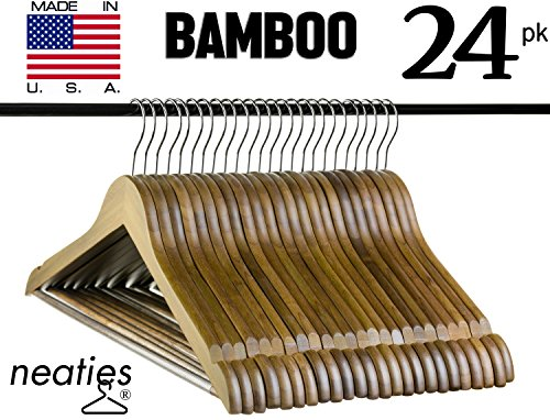 Bamboo Walnut (Walnut Bamboo Wood Hangers w/ Notches and Non-Slip Bar for Eco-Friendly Closet, Highest Quality Bamboo Hangers, VALUE Set of 24)