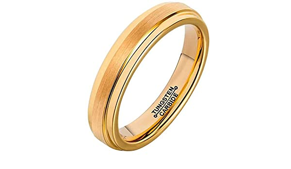 Bishilin 4mm Mens Womens Stainless Steel Wedding Bands Rose Gold Matte Wedding Rings Size:9