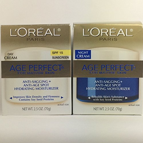 L'Oreal Paris, Skin Expertise Age Perfect Day + Night Hydrating Moisturizer Cream for Mature Skin SPF 15, 2 x 2.5-Oz.