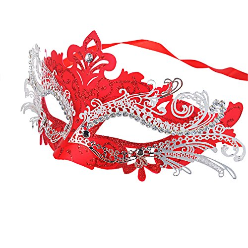 Coxeer Laser Cut Metal Lady Masquerade Halloween Mardi Gras Party Mask (Red) (Red Halloween Mask)