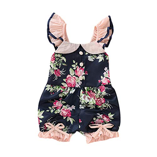 (Summer Infant Baby Sleeveless&Short Sleeve Dot Plaid Lace Backless Sunflower Romper by Waymine)