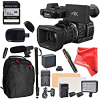 Panasonic HC-X1000 Camcorder High-Powered 20x Optical Zoom & Professional Functions, High Speed Memory Card, Monopod, External Mic, Backpack and more