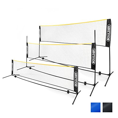 Boulder Portable Badminton Net Set - 10-Ft Mini Size for Tennis, Soccer Tennis, Pickleball, Kids Volleyball - Easy Setup Nylon Sports Net with Poles - For Indoor or Outdoor Court, Beach, Driveway