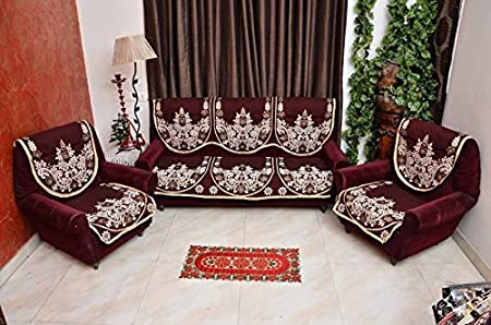 Decorista Velvet and Cotton 3+2 5 Seater Sofa Cover (Red, mehroondhanush)