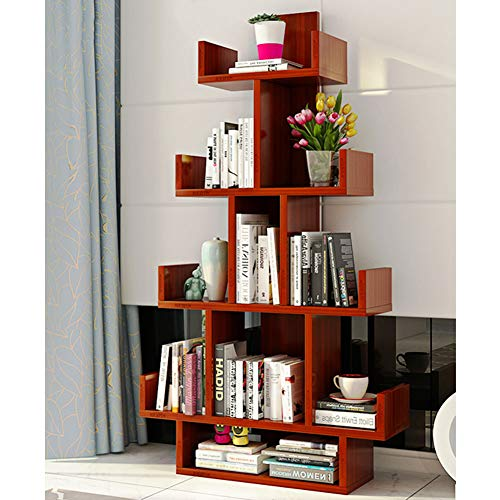 HM&DX Tree Bookshelf,10 compartments Wood Bookcase Furniture Versatile Display Rack Storage Organizer Shelf for Living Room-Teak (Teak Bookcase Cabinet)