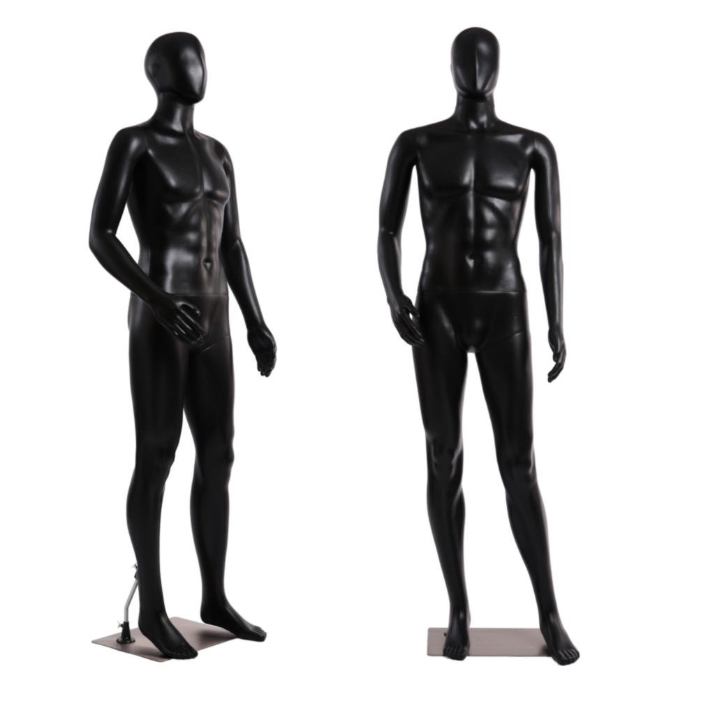 Standing Male Adult Mannequin (Black Egghead) + Base (MC-01BE) 082045593648 MC-01BE_Al