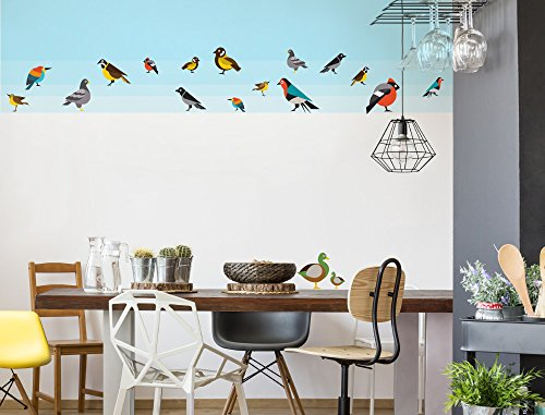 I-love-Wandtattoo WAS-12673 Children's room wall tattoo set ''Colourful bird species with duck and dove'' wall sticker boys room air animals girls room deco figures baby room garden animals
