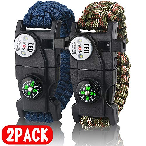 IMPHOM Survival Bracelet Paracord Military Buckle Tool Adjustable Rope Accessories Kit, Fire Starter, Knife, Compass, LED Light,Whistle,for Fishing Hiking Travel Camp(2pcs) Blue+Green Camouflage ...