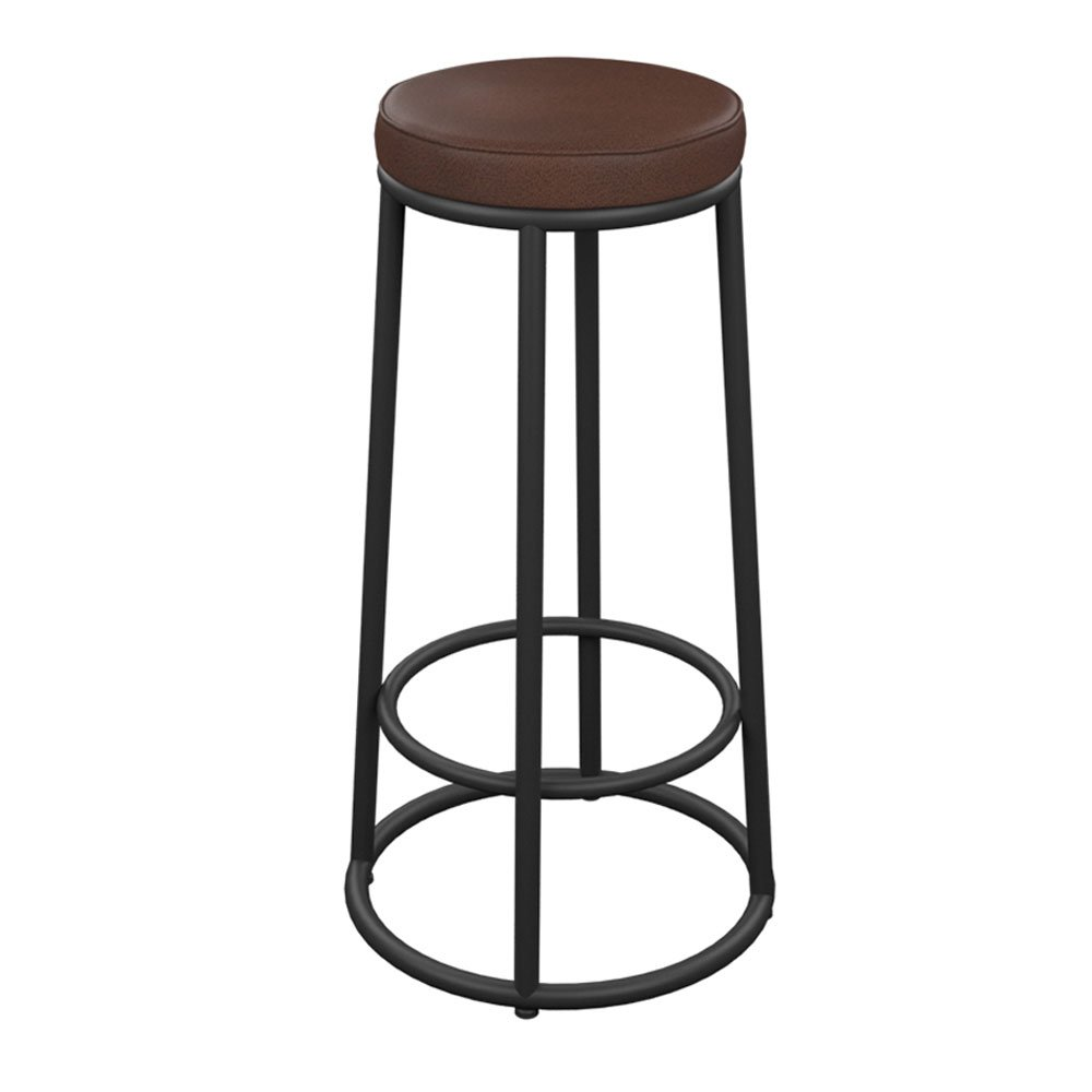 A Large Byx- American Retro bar Chair Simple Round Wrought Iron Solid Wood seat Cushion, Leather seat Cushion, Front Desk Chair bar Stool Size, 65cm 75cm 85cm @ (color   A, Size   L)