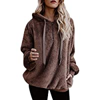 ZHANGVIP Warm Fluffy Hoodie Winter Drawstring Plus Size Top Hoodie Sweatshirt Ladies Hooded Pullover 2018