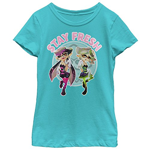 Kids Fresh Ink - Fifth Sun Nintendo Girls' Splatoon Inklings Stay Fresh Tahiti Blue T-Shirt