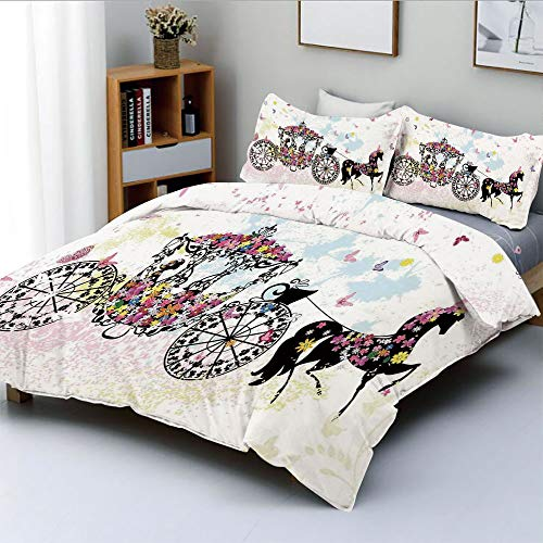 Duplex Print Duvet Cover Set Twin Size,Vintage Floral Carriage Black Horse Colorful Flowers Fairy Butterfly Girls Fun Party PrintDecorative 3 Piece Bedding Set with 2 Pillow Sham,Best Gift For Kids -