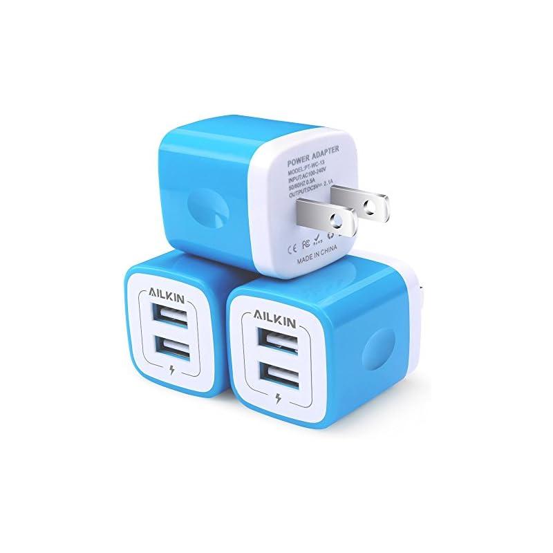 USB Wall Charger, AILKIN 3-Pack 2.1A Dua