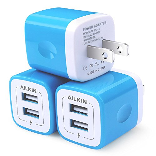 USB Wall Charger, AILKIN 3-Pack 2.1A Dual Port USB Plug Power Adapter Charging Cube Replacement for iPhone X 8/7/6 Plus SE/5S/4S,iPad, iPod, Samsung, Android Phone, and Other Charger Brick Plug-Blue (Blue Usb Charger)