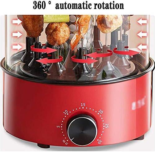 Grill Barbecue électrique Vertical tournebroche Torréfaction Même avec 360 ° de rotation, nettoyage facile, rotation 12 Brochettes, 1100W