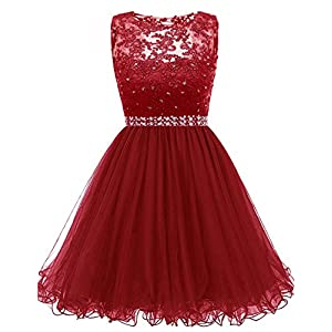 667f0daf1ad Himoda Lace Beaded Homecoming Dresses Sequined Appliques Cocktail Prom  Gowns Short H010 14 Burgundy