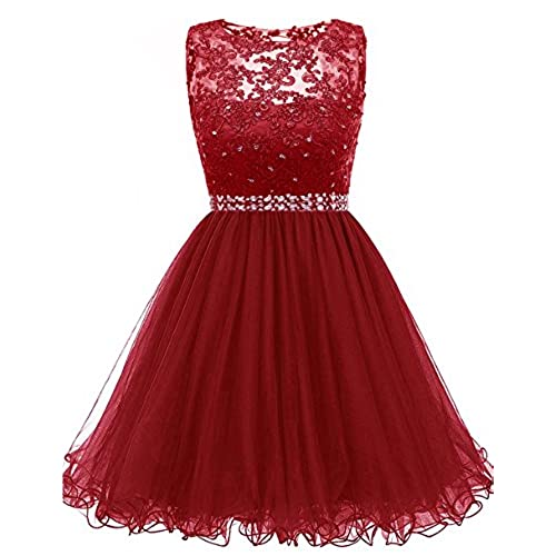 Himoda Lace Beaded Homecoming Dresses Sequined Appliques Cocktail Prom Gowns Short H010 4 Burgundy