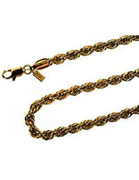 24 inch French Rope Chain 18k Gold Overlay 5 mm