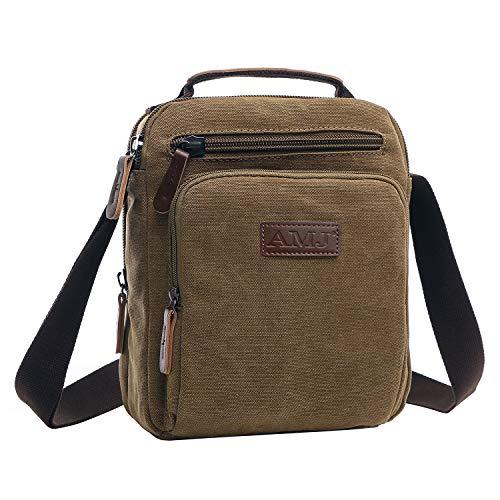 AMJ Small Canvas Messenger Bag, Crossbody Shoulder Bags Vertical Satchel Purse for Travel Work Business Men Women, Coffee
