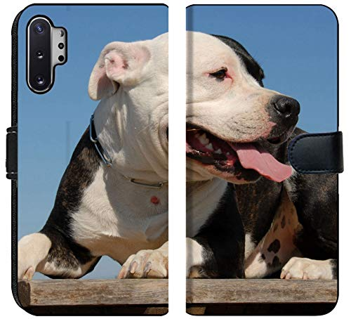 MSD Premium Designed Note 10 Plus Flip Fabric Wallet Case Image ID: 1827381 Portrait of a Beautiful Purebred American Staffordshire Terrier 1