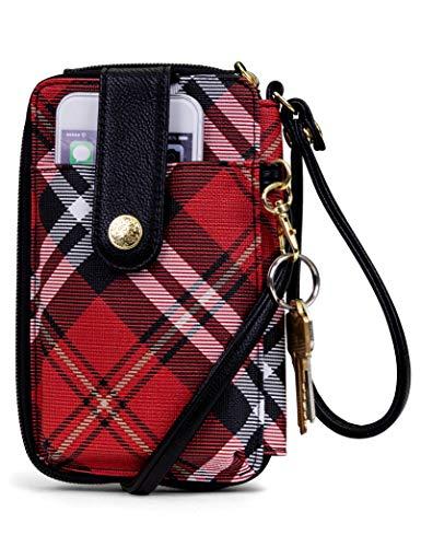 MUNDI Jacqui Vegan Leather RFID Womens Crossbody Cell Phone Purse Holder Wallet (Red Plaid)