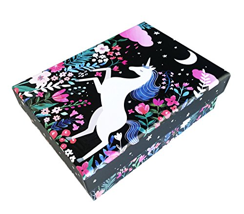 Clementine Whimsical White Unicorns On Chic Floral Decorative Storage Gift Box (Black, Unicorn)