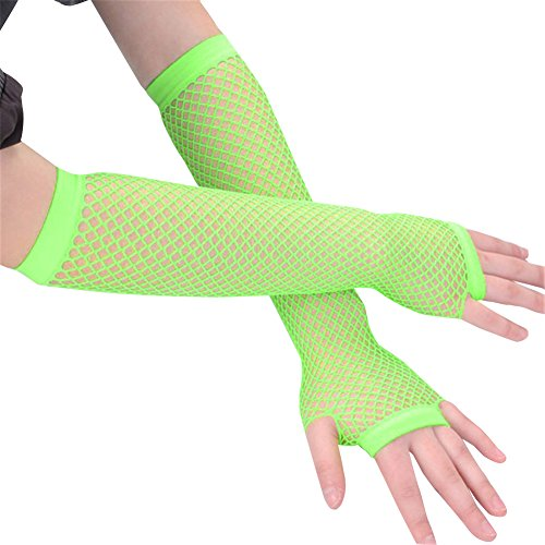 [Ayliss 2 Pairs Long+short Fishnet Gloves 6 Colors Available] (80s Dress Up)