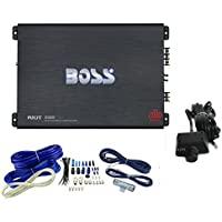 BOSS R2000M 2000W Riot Monoblock Car Audio MOSFET Mono Amplifier+4 Ga Amp Kit
