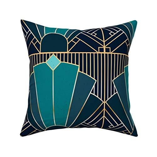 MrRui Decorative Pillow Covers Art Deco in Teal Square Cushion Cover Cotton Throw Pillow Covers Home Decor for Sofa Car…