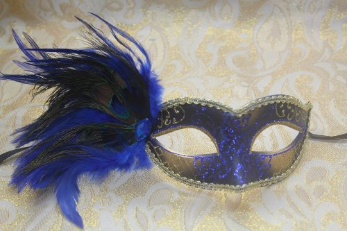 Blue & Gold Glitter with Feather Half Mask Venetian Masquerade Party Mask