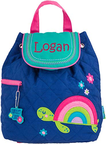 - Monogrammed Me Personalized Quilted Backpack, Blue Rainbow Turtle, with Custom Glittery Name