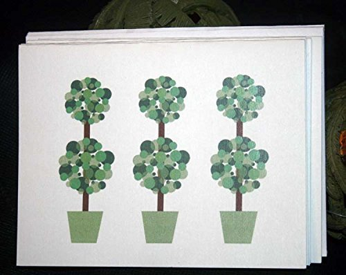 Blank Digitally designed Note Cards With Envelopes – Topiary set of 6 (Card Topiary)