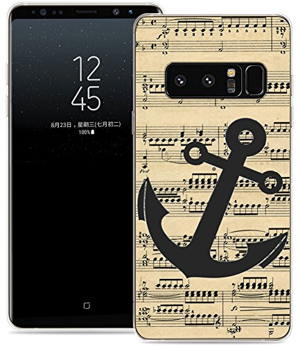 Case for Note 8 Anchor Design/IWONE Designer TPU Non Slip Rubber Durable Protective Skin Clear Cover Compatible for Samsung Galaxy Note 8 + Anchor Print Pattern Vintage