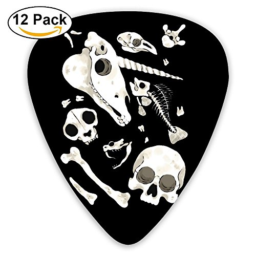 Black Skulls And Bones Guitar Picks For Bass - 12 Pack CUILL Plectrums Includes Thin, Medium & Heavy (Skull Pick Necklace)