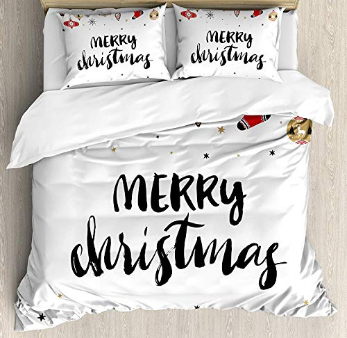 Christmas Full Size Duvet Cover Set - Merry Xmas with Modern Brush Lettering Creative Noel Phrase Inspirational Print Bedding Sets Decorative Bedspread for Childrens/Kids/Teens/Adults,4 Piece