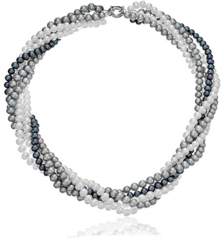 [Sterling Silver 4.5-5.5mm Twisted 5-rows Multi-colors Freshwater Cultured Pearl Strand, 18
