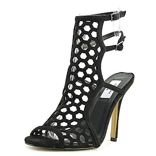 Open amp; Zoe Elita Microfiber Toe Casual Womens Slingback Chelsea Black Sandals wICfUqq