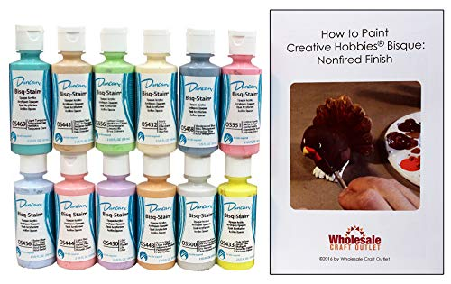 Duncan OSKIT-7 Pastel Colors Acrylic Paint Set, 12 Best Selling Colors in 2 Ounce Bottles with Free How to Paint Ceramics Book