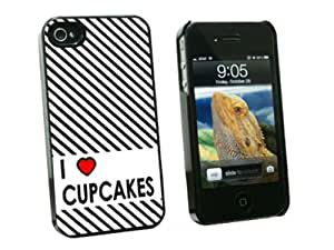 Graphics and More I Love Heart Cupcakes Snap-On Hard Protective Case for Apple iPhone 4/4S - Non-Retail Packaging - Black
