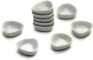 1shopforyou 10 White Ceramic Plate Dish Bowl Dollhouse Miniatures Food Kitchen Size M. 19 mm