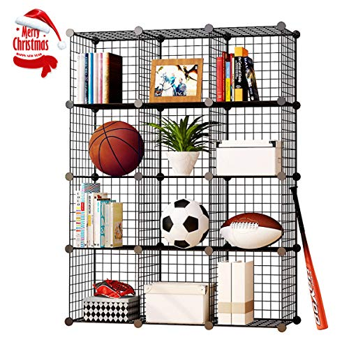 KOUSI Storage Cubes Wire Grid Modular Metal Cubbies Organizer Bookcases and Book Shelves Origami Multifunction Shelving Unit, Capacious & Customizable, Black, 12 Cubes